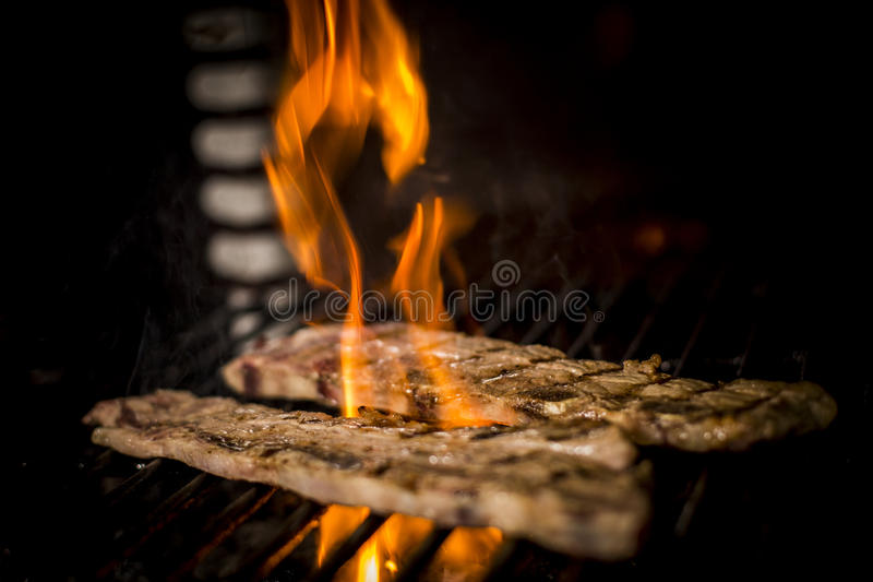Meat cooked to the fire royalty free stock image