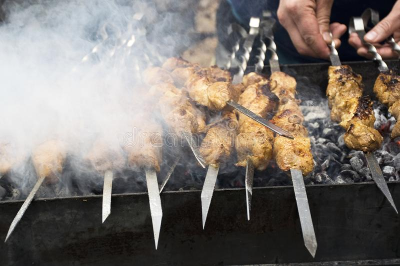 Meat cooks on hot coals in the smoke. Picnic in nature stock photo