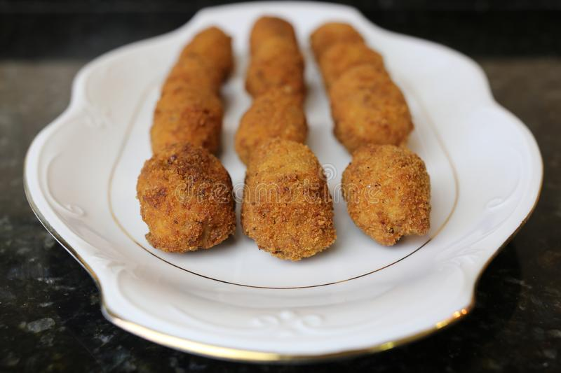 Meat croquette typical food of the Andalusian and Spanish cuisine. Meat croquettes are a typical meal of Andalusian and Spanish cuisine. The croquettes are in stock image