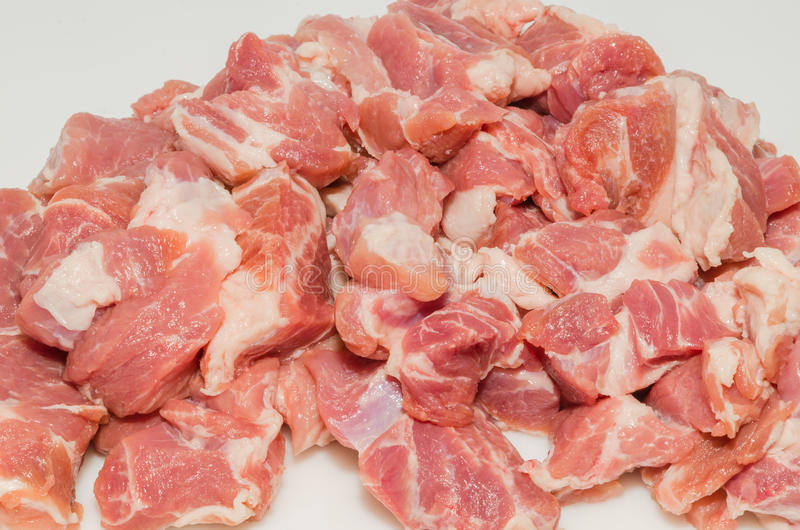 Meat cut into cubes stock photography