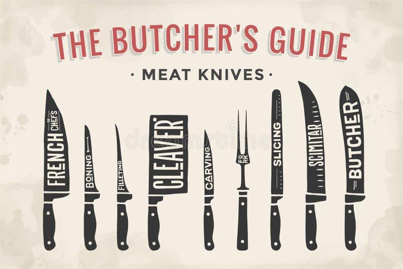 Meat cutting knives set. Poster Butcher diagram and scheme. Meat Knife. Set of butcher meat knives for butcher shop and design butcher themes. Vintage royalty free illustration