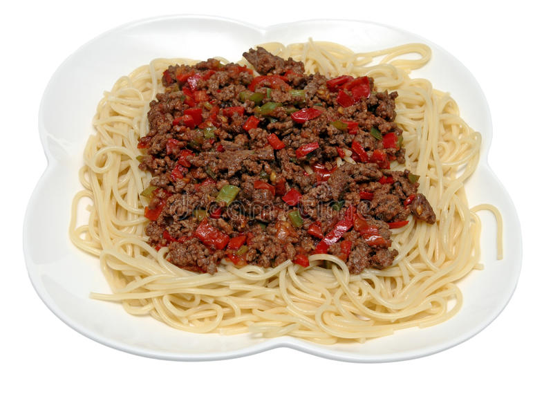 meat finhackad såsspagetti fotografering för bildbyråer