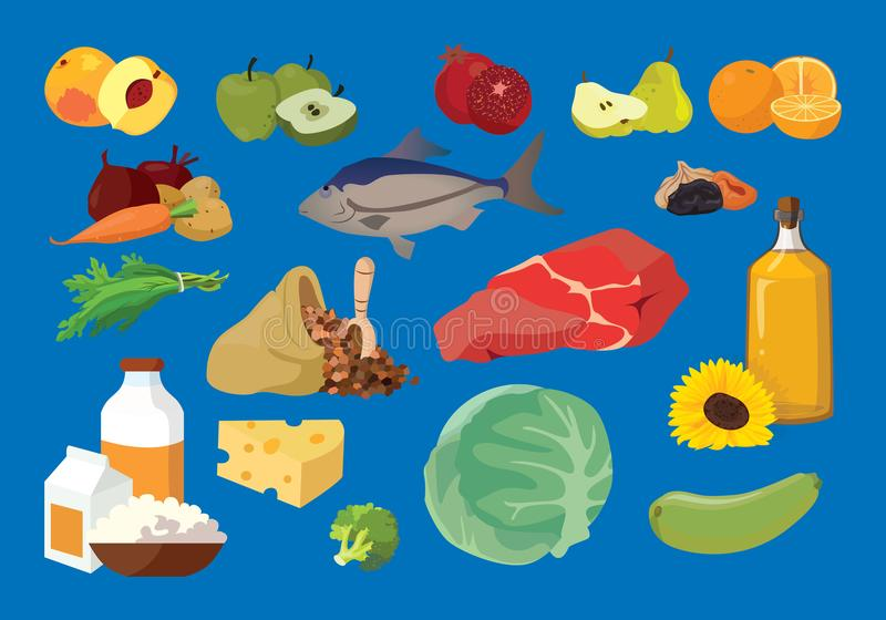 Meat, fish, butter, fruits, vegetables, dairy products- useful p. Meat, fish, butter, fruits, vegetables, dairy products - useful products. For your convenience vector illustration