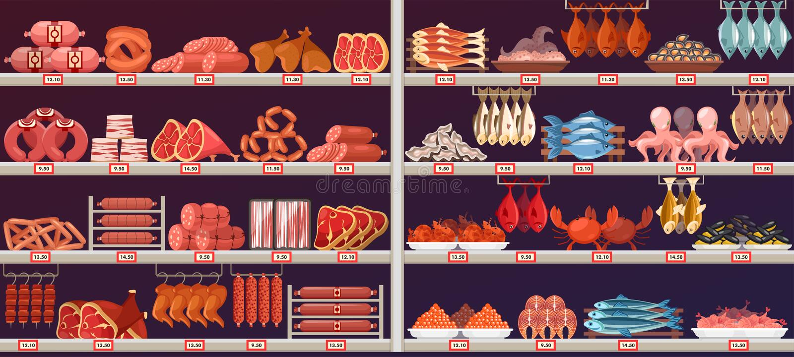 Meat and Fish products at shop or store stall vector illustration