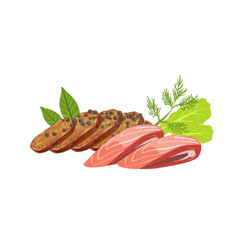 Meat And Fish Set Of Pizza Ingredients stock illustration