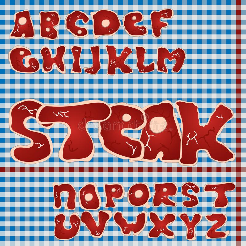 Meat font. Steak alphabet stock illustration