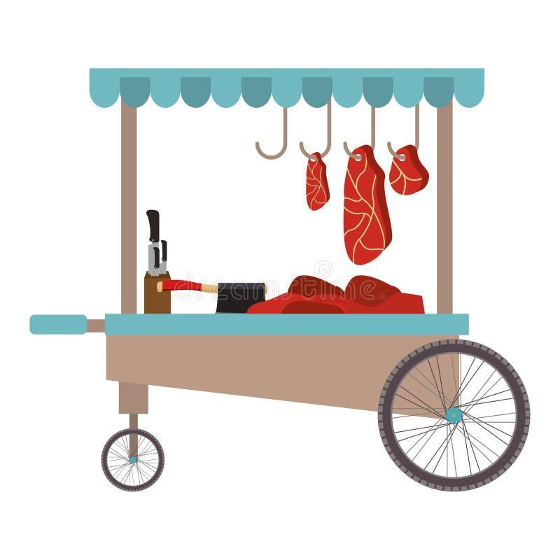 Meat food cart icon. Over white background. street business design. vector illustration vector illustration