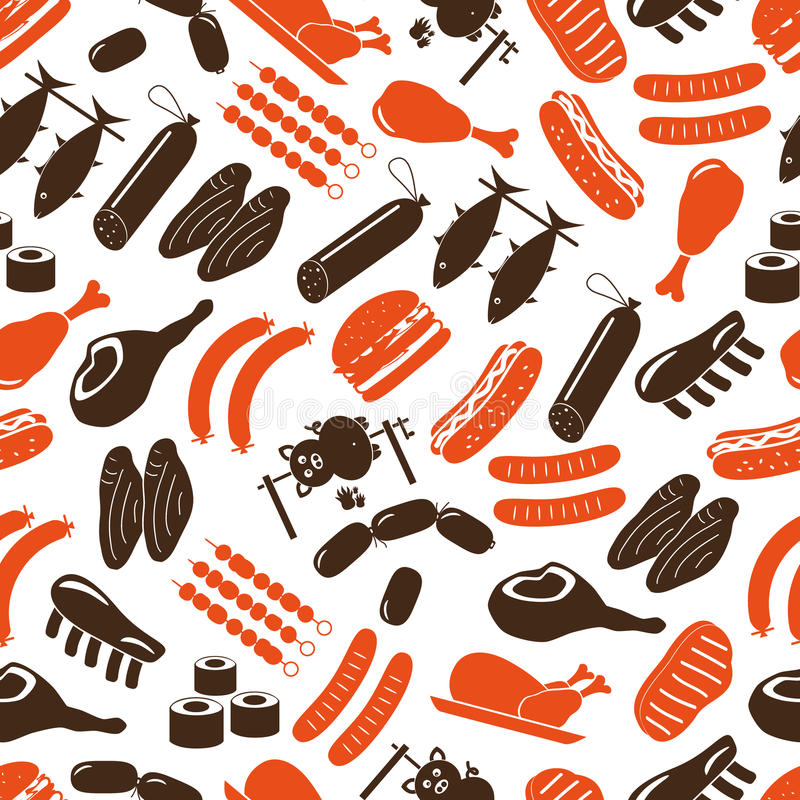 Meat food icons and symbols color seamless pattern. Eps10 royalty free illustration