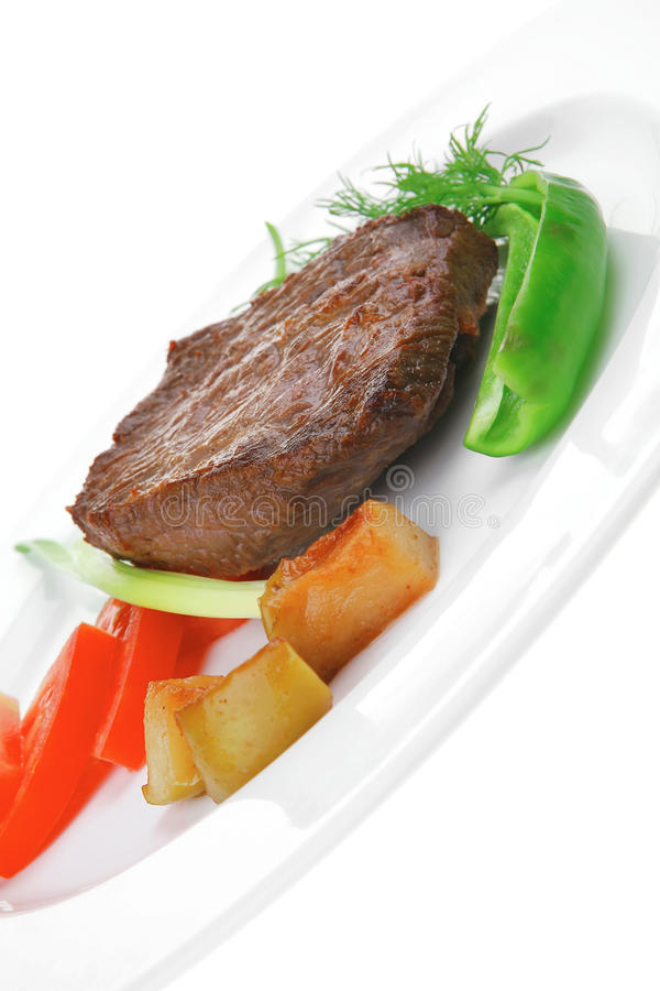 Meat food : roast beef fillet mignon served on white with sprout stock images
