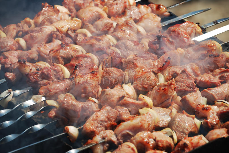 Download Meat is fried on fire stock photo. Image of appetizing - 9484728