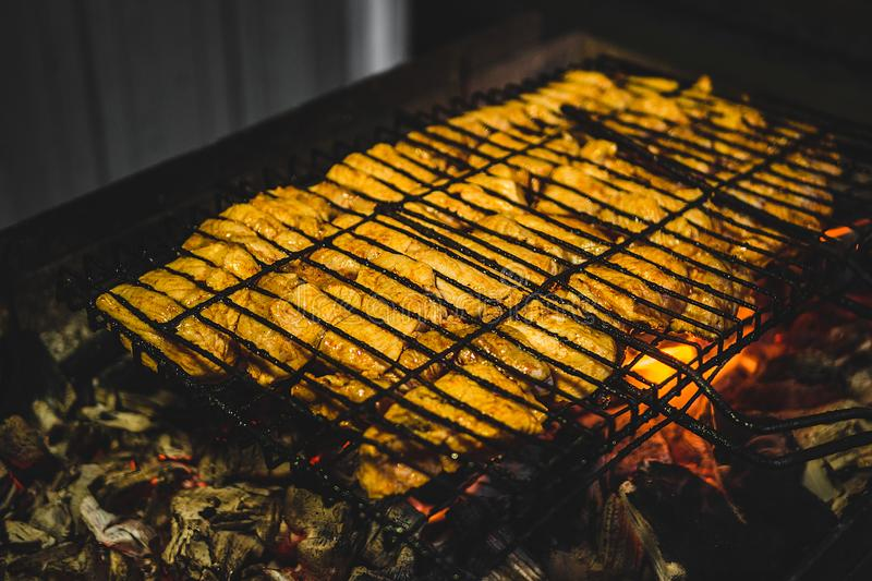 The meat is fried on the grill royalty free stock photo