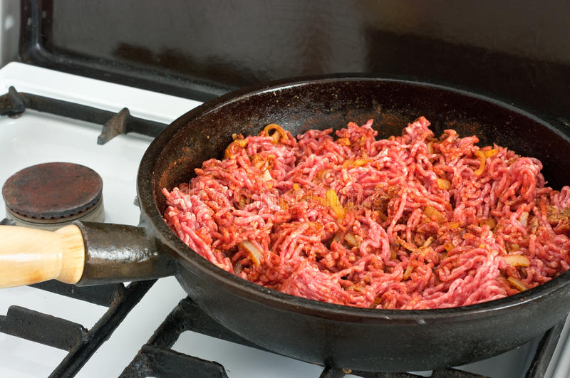 Download Meat on frying pan stock photo. Image of detail, meat - 20369294