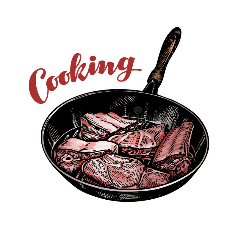 Meat in frying pan. Cooking vector illustration stock illustration
