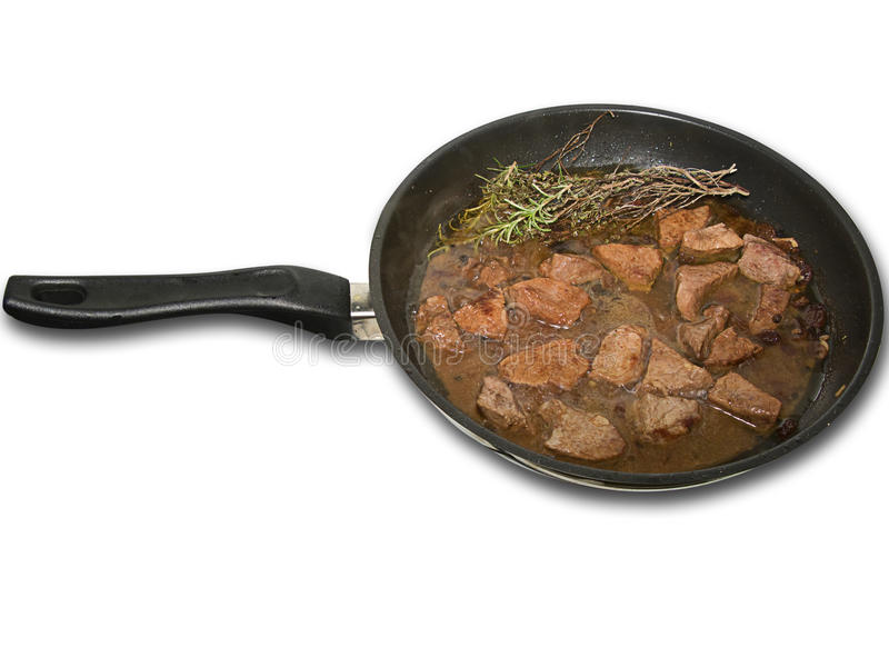 Download Meat In A Frying Pan, Isolated Royalty Free Stock Photos - Image: 17774948
