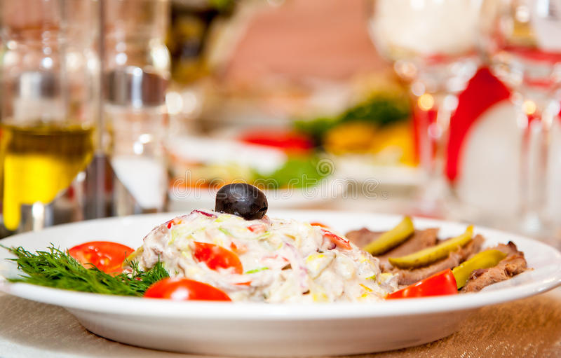 Download Meat With Garnish In The Restaurant Stock Photo - Image: 27121704