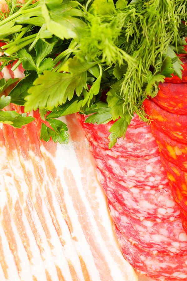 Download Meat and greens stock image. Image of bacon, sliced, greens - 17869607