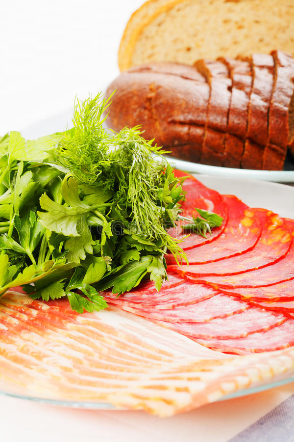Download Meat greens and bread stock photo. Image of sausage, delicious - 17869592