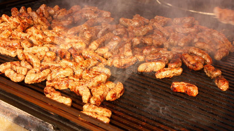 Meat on the grill stock photo