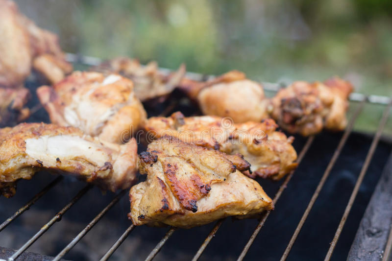 Meat on grill stock photography