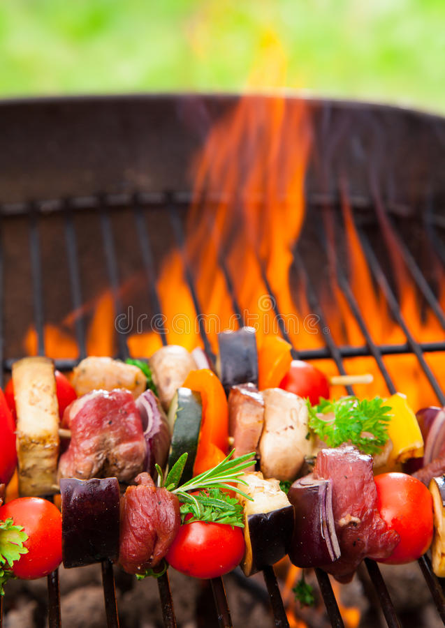 Download Meat on grill stock image. Image of charcoal, grill, plate - 32398367