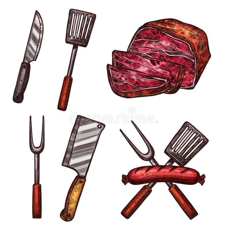 Grill meat sausages cutlery sketch vector icons. Meat grill sausages, steake and barbecue cutlery or butchery cooking or meat carving kitchen tools. Vector royalty free illustration