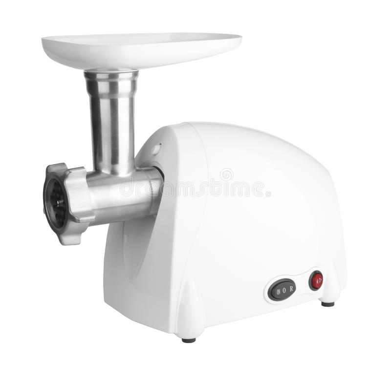 Meat grinder. Electric meat grinder isolated on a white royalty free stock image