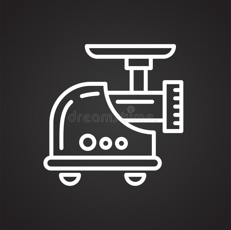 Meat grinder line icon on black background for graphic and web design, Modern simple vector sign. Internet concept. Trendy symbol royalty free illustration