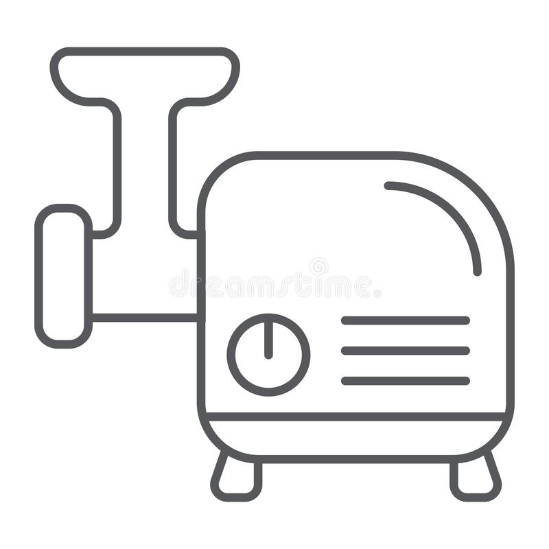 Meat grinder thin line icon, kitchen and utensil, chopper sign, vector graphics, a linear pattern on a white background. royalty free illustration