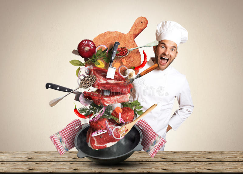 Download Meat stock photo. Image of creativity, knife, chef, fresh - 90268898