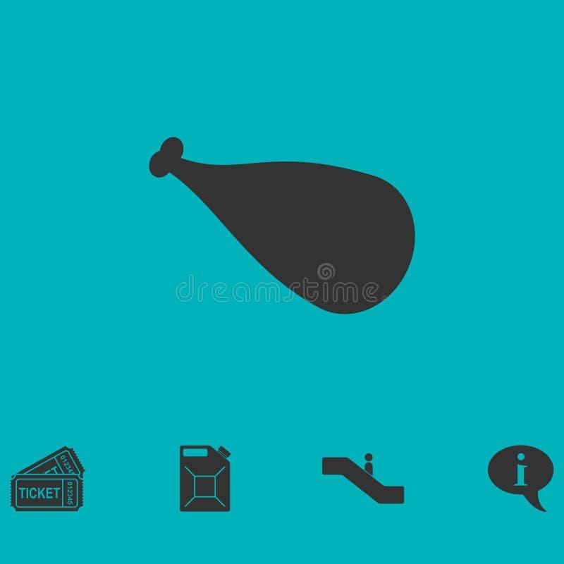 Meat leg icon flat. Simple vector symbol and bonus icon royalty free illustration