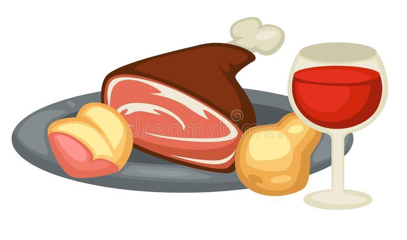 Meat leg pear and red wine Renaissance traditional food and drink. Renaissance traditional food meat leg pear and red wine and drink vector isolated metal plate stock illustration
