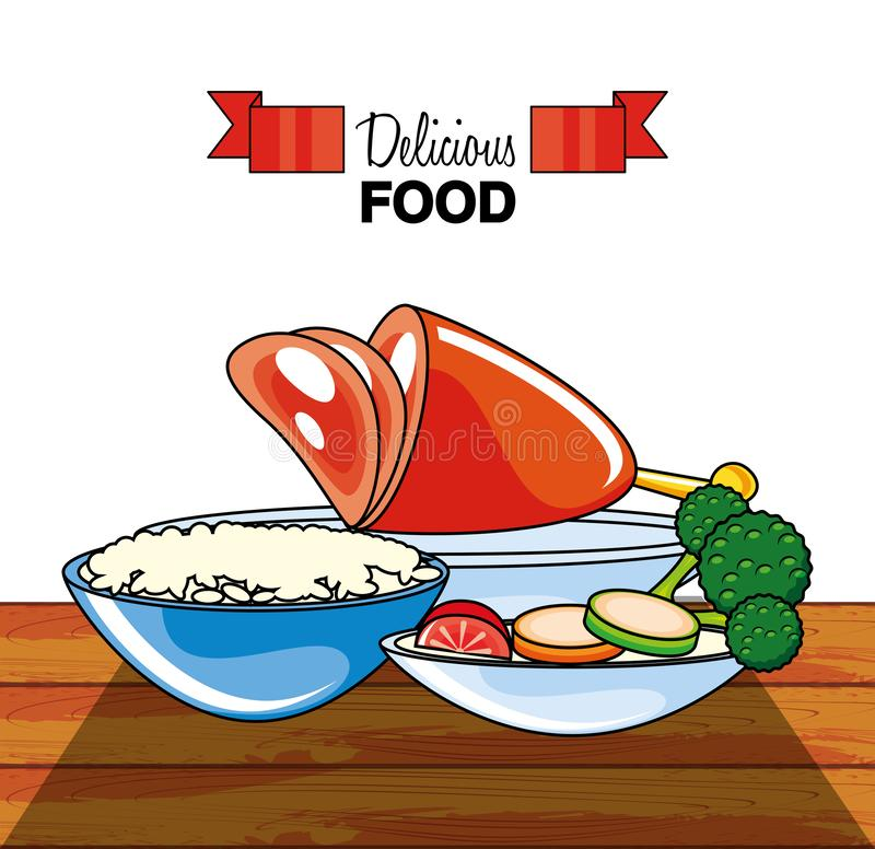 Meat leg with rice and vegetables. Vector illustration design royalty free illustration