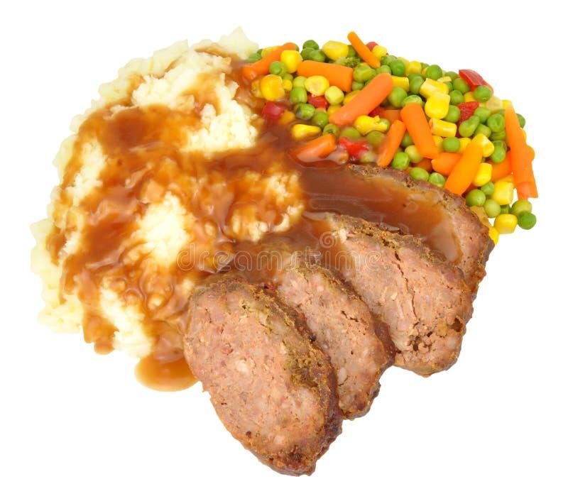Meat Loaf och mosat potatismål arkivfoton