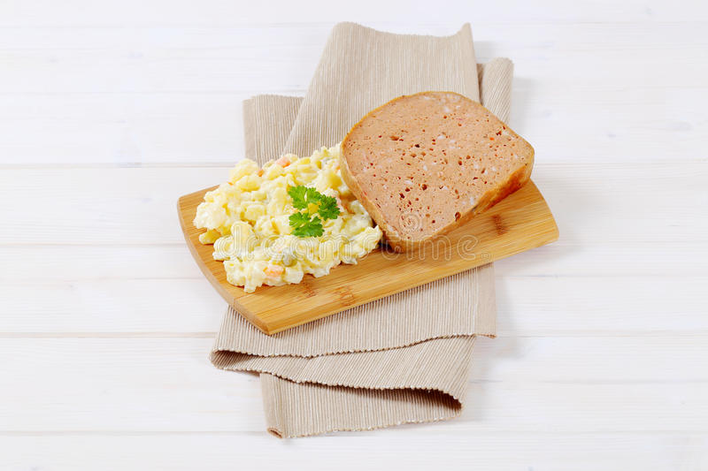 Download Meat Loaf With Potato Salad Stock Image - Image: 83709149