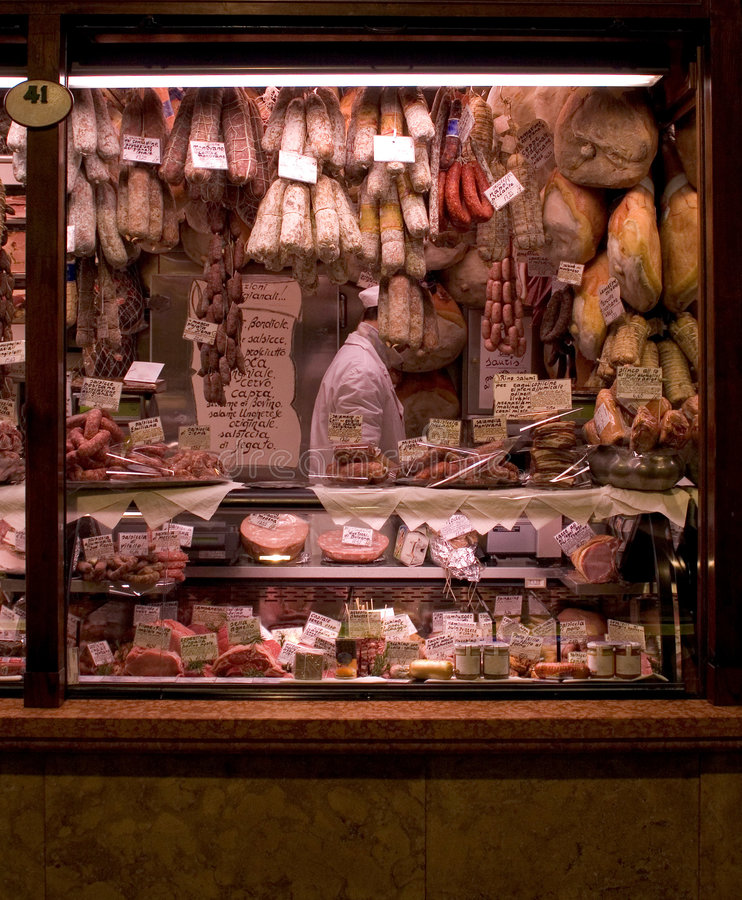 Meat Market. Market Stall in Padova, Italy royalty free stock image