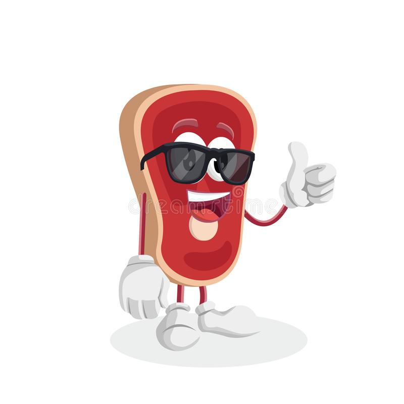 Meat mascot and background thumb pose. With flat design style for your mascot branding vector illustration
