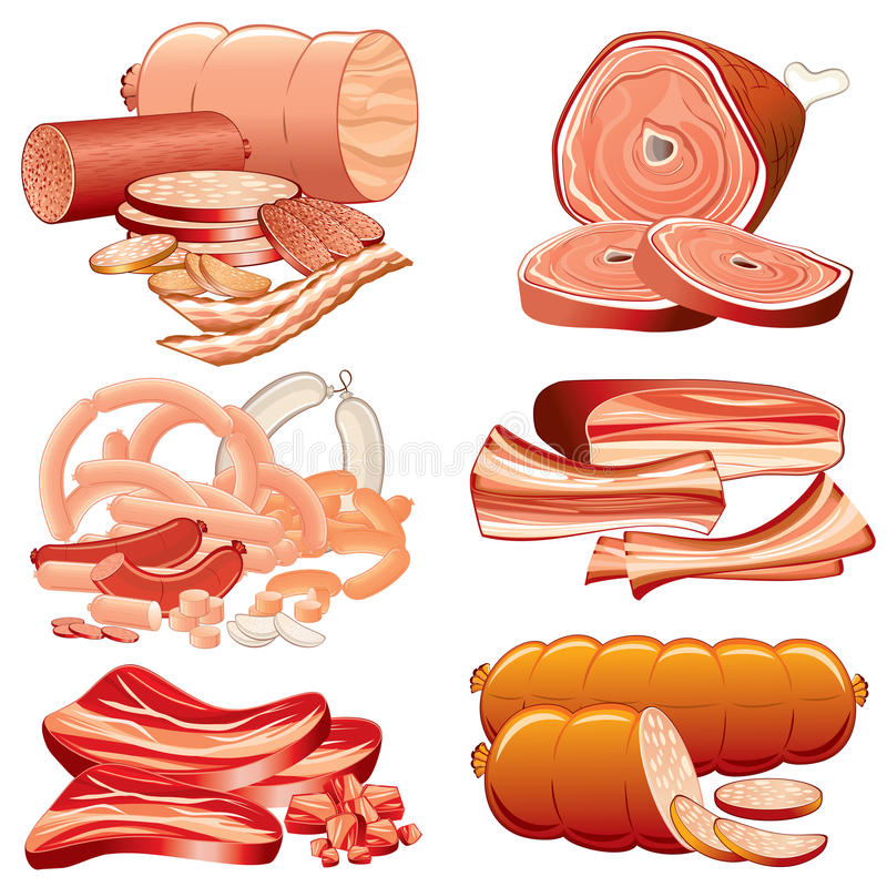 Download Meat meal stock vector. Illustration of pepperoni, delicacy - 16419231