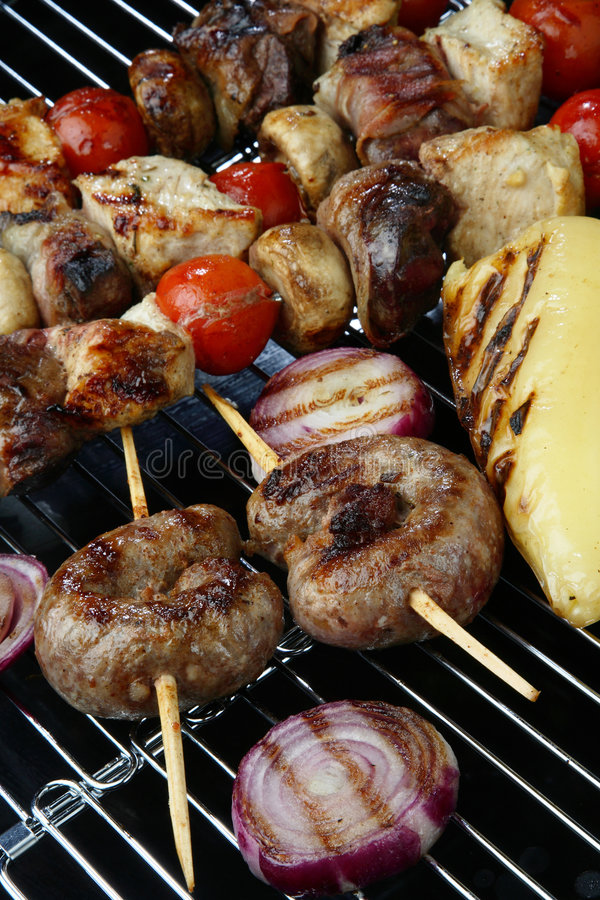 Download Meat Mix With Vegetable On Grill Stock Photos - Image: 7923353