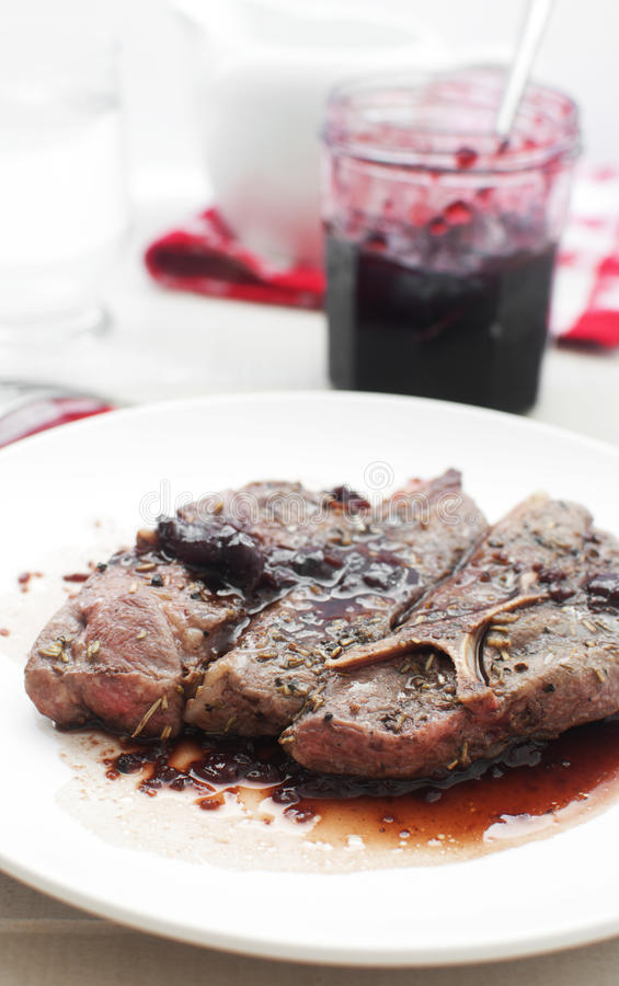 Download Meat With Original Cherry Preserves Sauce Stock Photo - Image: 26314526