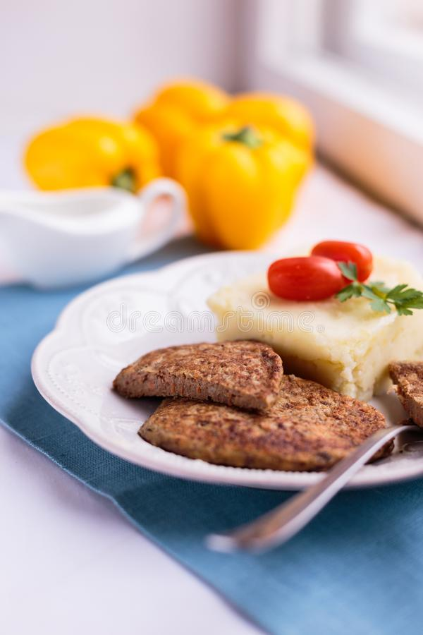 Beautiful meat pancakes with mashed potatoes royalty free stock images