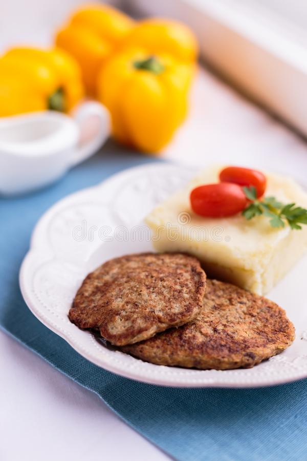 Beautiful meat pancakes with mashed potatoes stock images