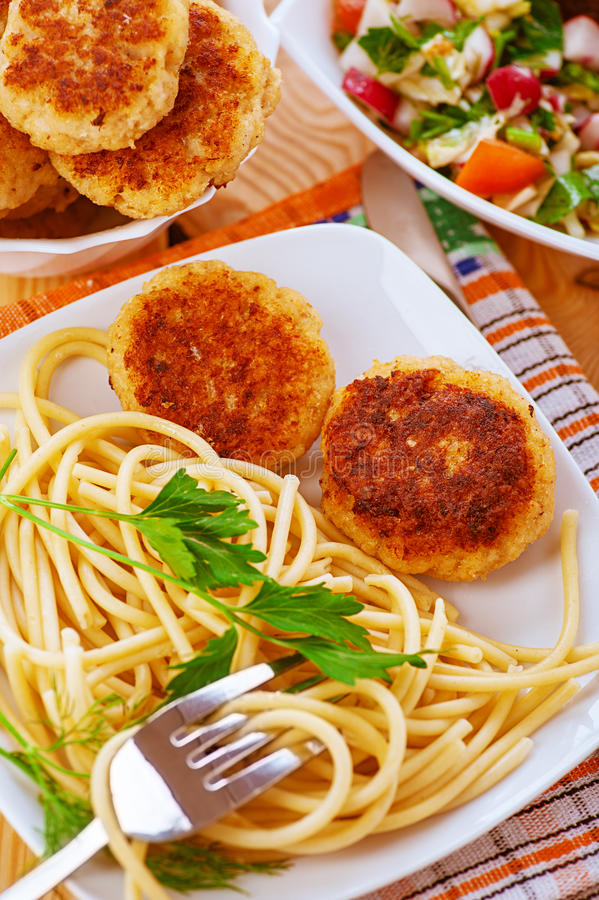Meat Patties And Pasta Stock Image