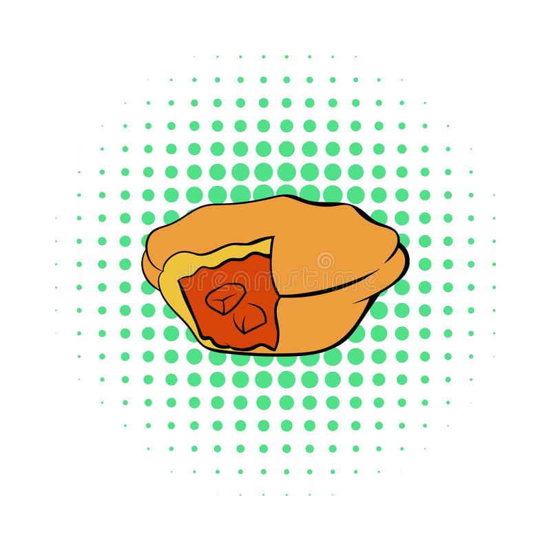 Meat pie icon in comics style. On a white background vector illustration