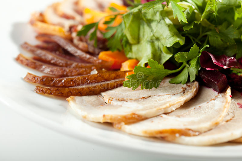 Meat Plate Dressing with Salad stock photo