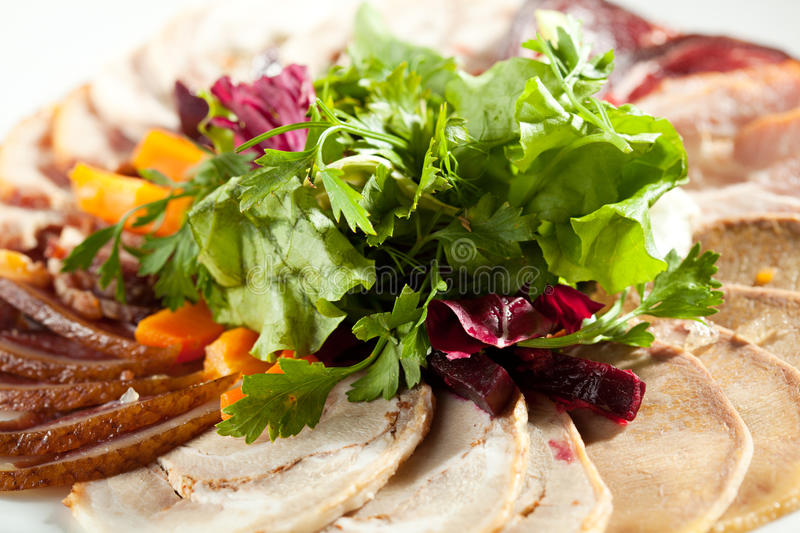 Meat Plate Dressing with Salad stock photography