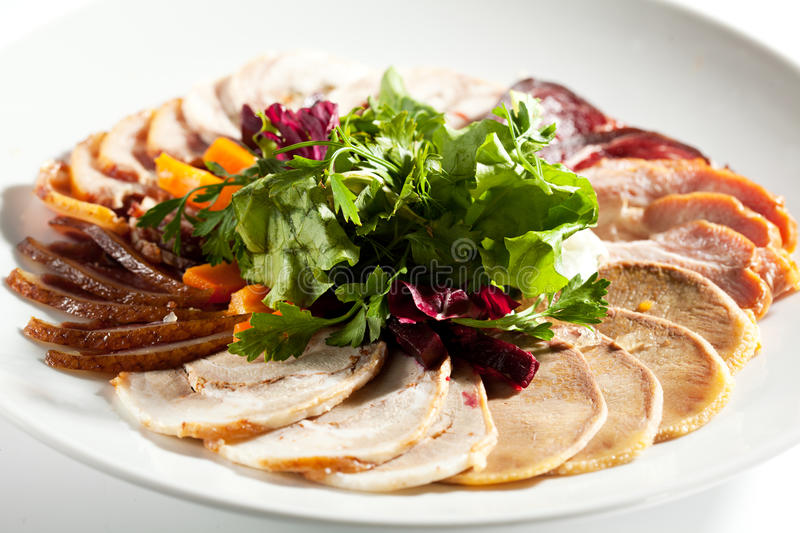 Meat Plate Dressing with Salad stock photos