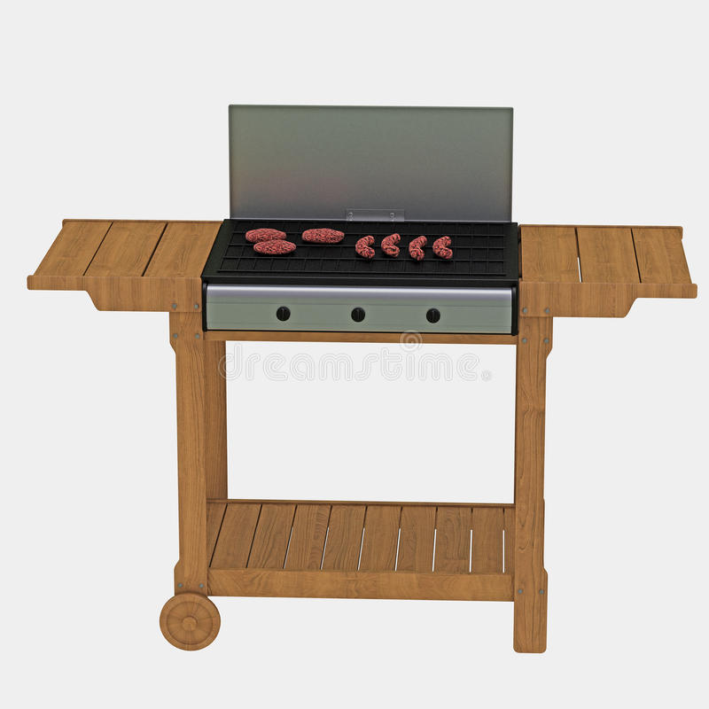 Download Meat on portable barbecue stock illustration. Illustration of culinary - 14274781