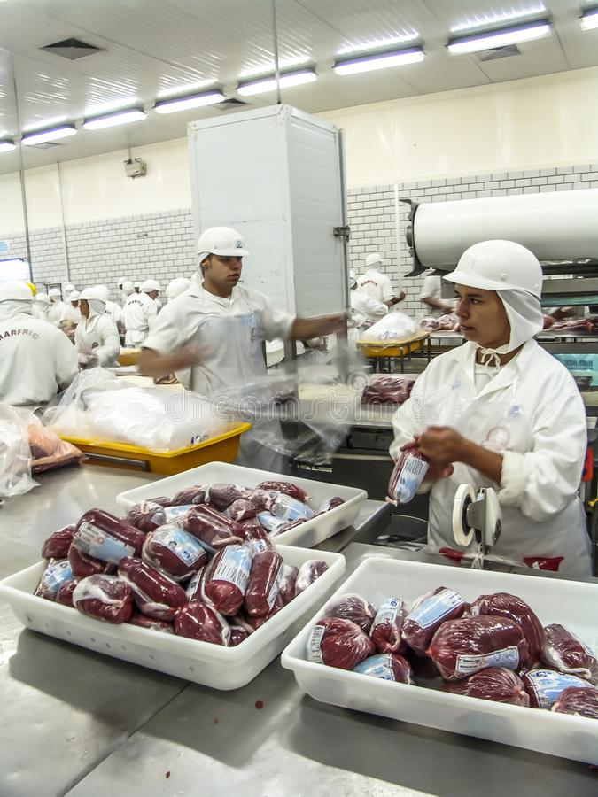 Meat processing in food industry. Sao Paulo, Brazil, March 09, 2006. Meat processing in food industry stock images