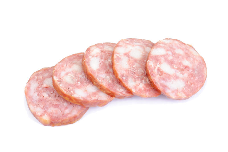 Meat product.Sausage isolated on white stock image