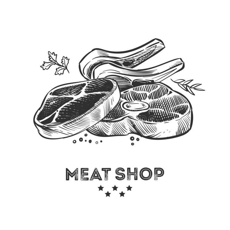 Meat products, fresh beafsteak and ribs hand drawn vector illustration. Steak pork, beefsteak for barbecue, sirloin and bacon vector illustration